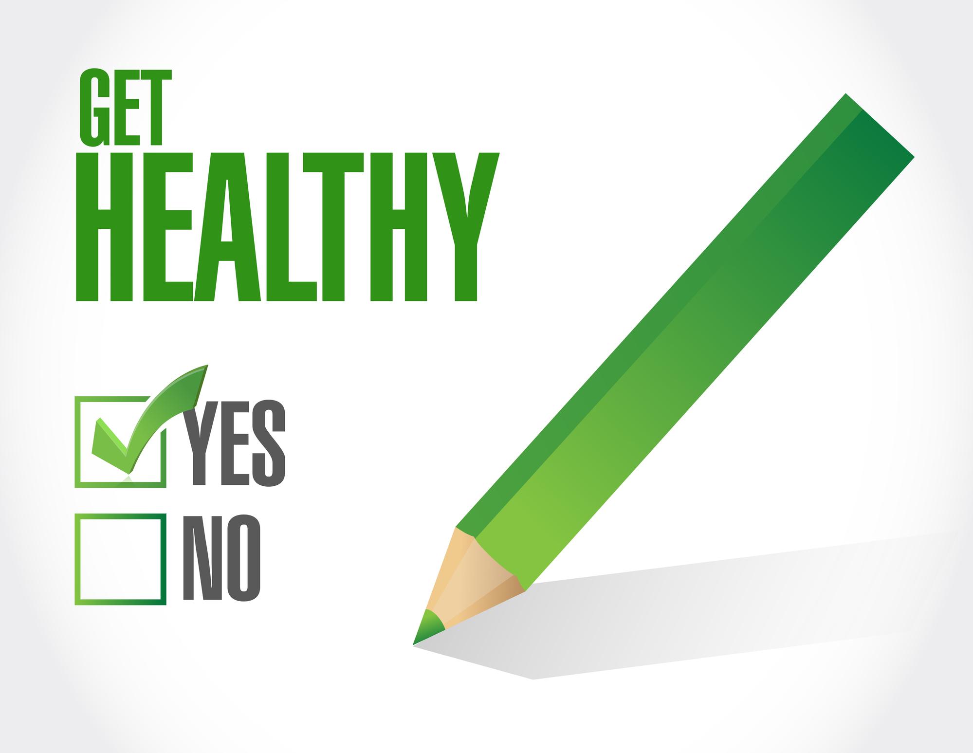 get healthy check mark illustration design over a white background